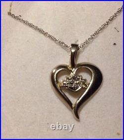 10k White GOLD 18 CHAIN & HEART PENDANT HARLEY DAVIDSON BEAUTIFUL