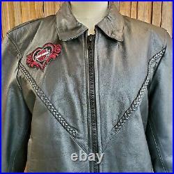 Barney's Black Leather Biker Jacket Harley Davidson Heart Patches Lined Sz XXXL