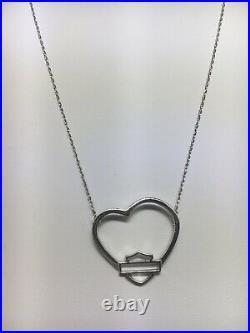 Harley Davidson 10K White Gold Large Open Heart Pendant Necklace (20)