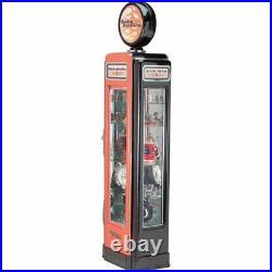 Harley Davidson Gas Pump Glass Display Cabinet Lighted Chrome Case 30L x 90H