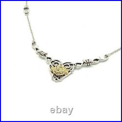Harley-Davidson Sterling Silver Barbed Wire Heart Necklace