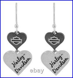 Harley-Davidson Women's Black & Silver Double Heart B&S Drop Earrings HDE0549