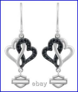 Harley-Davidson Women's Black & White Infinity Hearts Drop Earrings HDE0578