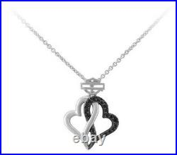 Harley-Davidson Women's Black & White Infinity Hearts Necklace HDN0485-16ADJ