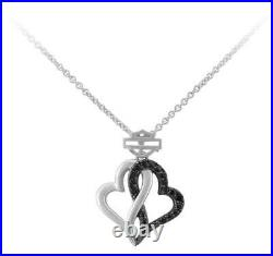Harley-Davidson Women's Black & White Infinity Hearts Necklace, Sterling Silver