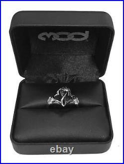 Harley-Davidson Women's Black & White Infinity Hearts Ring, Sterling Silver
