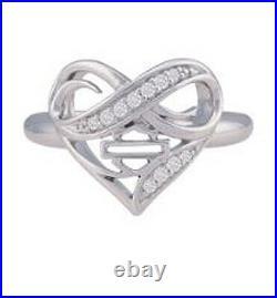 Harley-Davidson Women's Infinity Thorn Rhinestone Embellished Heart Ring HDR0542