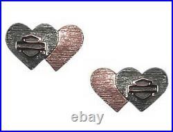 Harley-Davidson Women's Pink & Black Double Heart B&S Post Earrings HDE0546