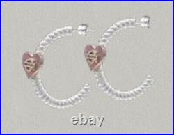 Harley-Davidson Women's Pink Heart Bar & Shield Hoop Earrings HDE0548