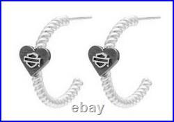 Harley-Davidson Women's Sterling Silver B&S Black Heart Hoop Earrings HDE0547