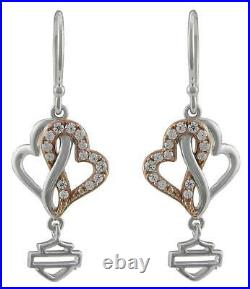 Harley-Davidson Women's White & Rose Gold Bling Infinity Hearts Drop Earrings
