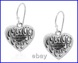 Harley-Davidson Womens Flames Bar & Shield Heart Dangle Earrings, Silver HDE0423