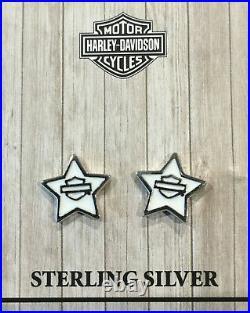 Harley-davidson Bar & Shield White Enamel Star Post/stud Earrings Hde0495