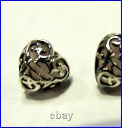 Harley-davidson Womens Sterling Silver & Rose Quartz Filigree Love Heart Earring