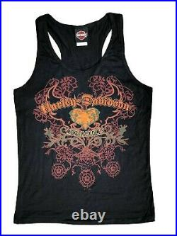 Ladies Harley Davidson Cotton MOTORCYCLES Blonde Vest T Shirt Heart Tank Top 76