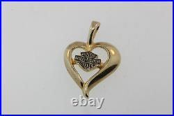 NICE 10k Y/GOLD HARLEY DAVIDSON MOTOR CYCLES HEART PENDANT 1.7g