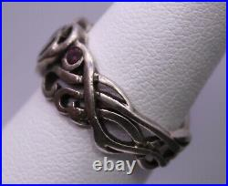 SIZE 7 Vintage HARLEY DAVIDSON HD MOD Sterling Silver & Red Stone Heart Ring