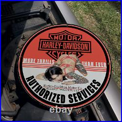 Vintage 1944 Harley-Davidson Motorcycle Company Porcelain Gas & Oil Pump Sign