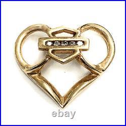 Vintage 1970's Custom Harley Davidson 14K Yellow Gold & Diamond Heart Pendant