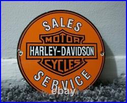 Vintage Harley Davidson Hd Porcelain Sign Gas Oil Motorcycle Station Pump Emblem