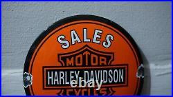 Vintage Harley Davidson Hd Porcelain Sign Gas Oil Motorcycle Station Pump Push