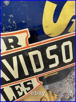 Vintage Harley Davidson Motorcycle 29porcelain Sign Lube Gas Pump Station