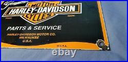 Vintage Harley Davidson Motorcycle Porcelain Biker Gas Service Pump Plate Sign