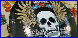 Vintage Harley Davidson Motorcycle Porcelain Gas Auto Bike Sales Skull Pump Sign