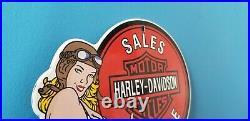 Vintage Harley Davidson Motorcycle Porcelain Service Station Gas Pump 8 Sign