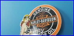 Vintage Harley Davidson Motorcycle Porcelain Service Station Gas Pump Sign