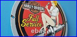 Vintage Harley Davidson Motorcycle Porcelain Service Station Spark Gas Pump Sign
