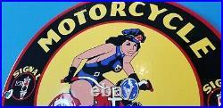 Vintage Harley Davidson Motorcycle Porcelain Signal Gasoline Service Pump Sign