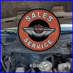 Vintage Harley Davidson Motorcycles Sales Service Porcelain Gas & Oil Pump Sign