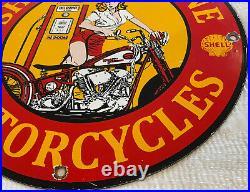 Vintage Shell Motorcycle Gasoline Porcelain Sign Pump Oil Pin Up Harley Davidson