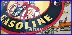 Vintage Signal Gasoline Porcelain Harley Davidson Gas Oil Bike Service Pump Sign